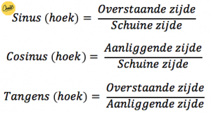 voorbeeld sinus cosinus en tangens