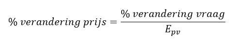 prijselasticiteit formule omgeschreven 2