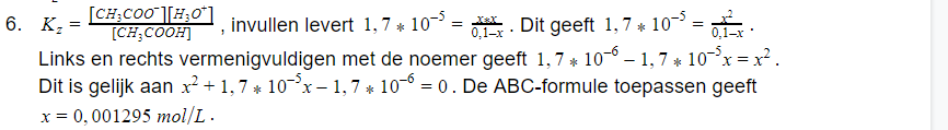 formule ph scheikunde